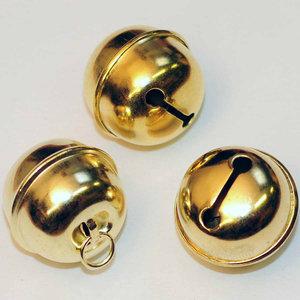 Belletjes rond goudkleurig 25 mm doorsnee 5 stuks per zakje