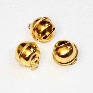Belletjes rond goudkleurig 18 mm doorsnee 10 stuks per zakje