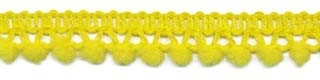 Mini pom pom band geel 10 mm breed per meter
