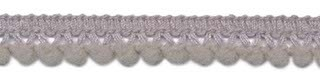 Mini pom pom band licht grijs 10 mm breed per meter