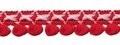 Lusjes band aqua rood roze 15 mm breed, per meter