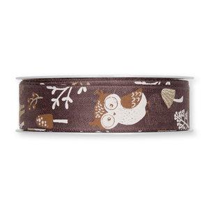 Lint herfst uil bruin 25 mm breed ca. 1 meter per zakje