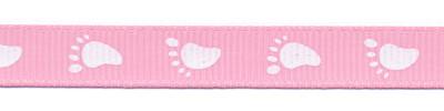 Baby voetjes lint roze met witte voetjes 10 mm breed per meter