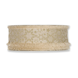 Kerst lint sterren zand 35 mm breed 1 meter per zakje
