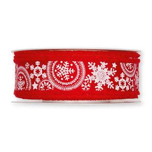 Kerst Lint ijs sterren rood 30 mm breed 1 meter per zakje